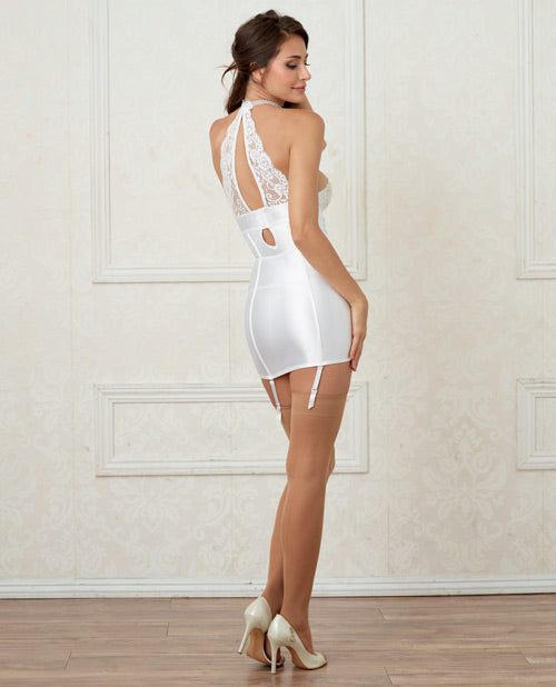 Pearl Collar Stretch Satin Lace Chemise