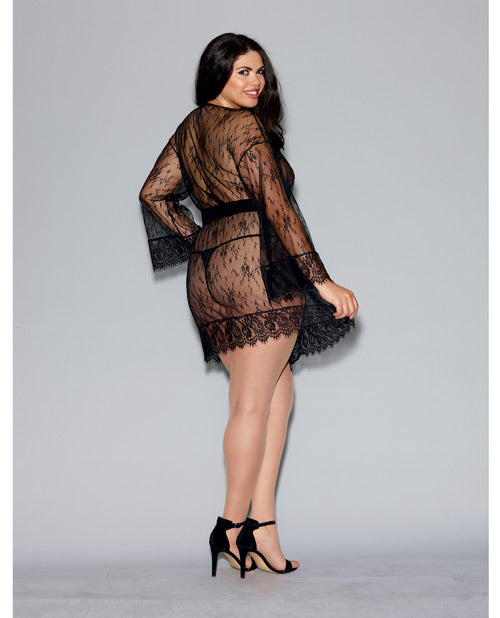 Long Sleeved Lace Kimono Robe Eyelash Lace