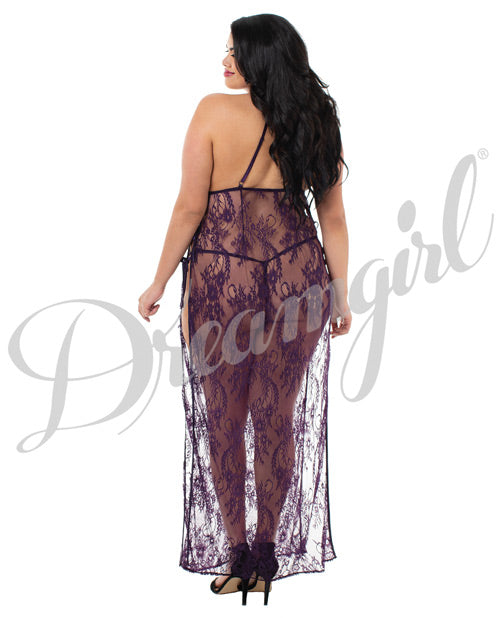 Toga Style Lace Gown W/adjustable Satin Straps, Halter Cups & G-string