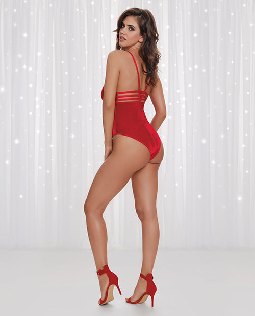 Stretch Velvet Teddy W/thong Back & Snap Crotch Closure Lipstick Red