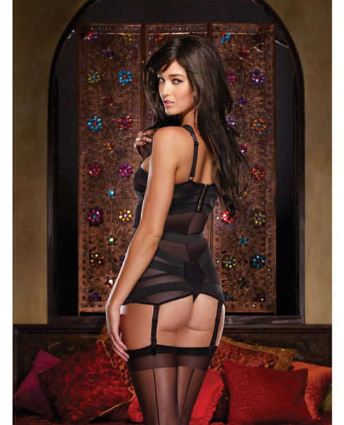 Stretch Mesh W/spandex & Elastic Bandage Teddy W/removable Garter Straps Black