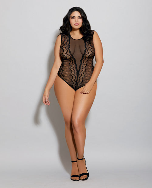 Sheer Mesh Stretch Lace Sleeveless Bodysuit