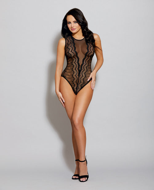 Sheer Mesh Stretch Galloon Lace Sleeveless Bodysuit