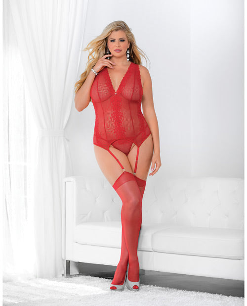 Jeweled Front Criss Cross Bustier W-hose  Red Qn