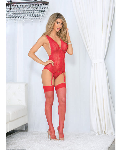 Jeweled Front Criss Cross Bustier W-hose Red O-s