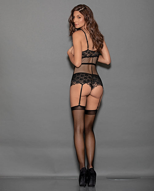 Open Cup Bustier & Crotchless Boyshorts (hosiery Not Included) Black O-s