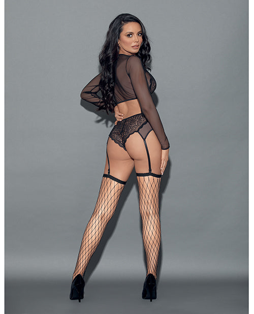 Euphoria Long Sleeve Lace & Mesh Top, Panty Garter & Hose Black O-s
