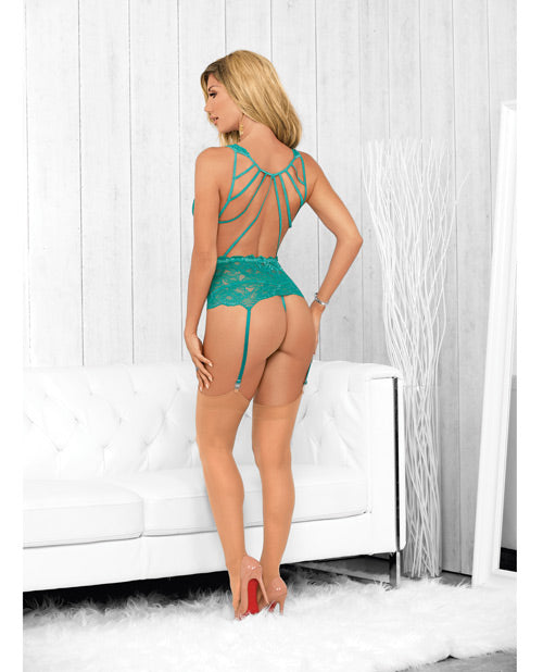 Strapped Back Bustier W/hose Caribbean Green