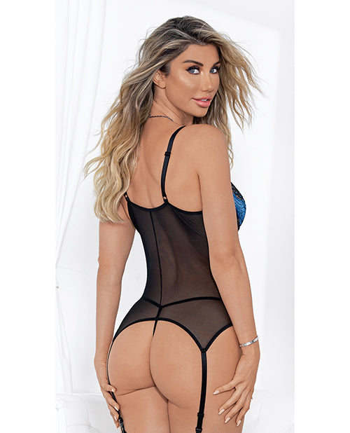 Lace & Underwire Cups Bustier, G-string & Thigh High Royal/blck Lg