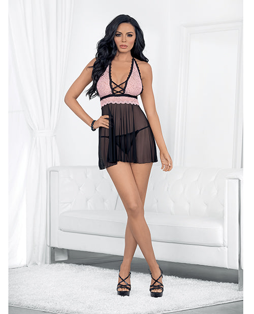 Valentines Lace & Sheer Babydoll Pink/black