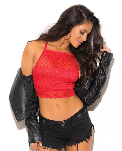 Lace Hi-neck Bralette Red Lg