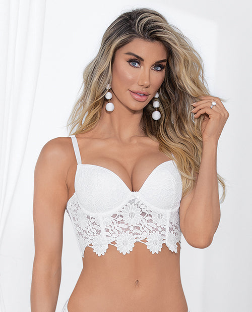 Guipure Lace & Lycra Bra W/molded Cups & Adjustable Straps White 32