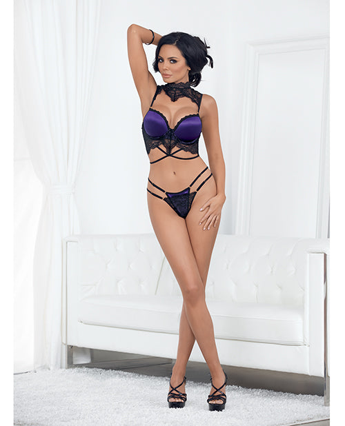Valentines Collard Bra & Panty W/skirt Set Black/purple
