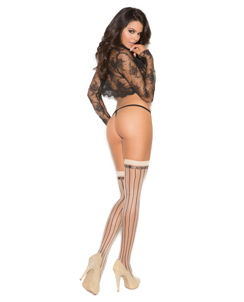 Pin Striped Thigh High W-satin Bow Nude-black O-s