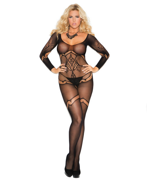 Long Sleeve Crochet Bodystocking W-floral Design & Open Crotch Black Qn