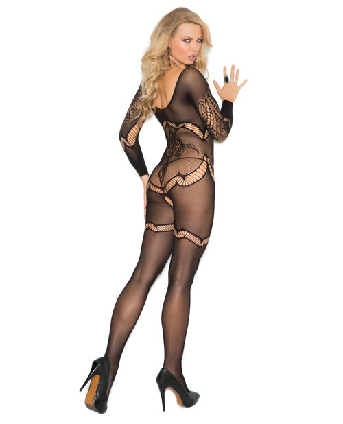 Long Sleeve Crochet Bodystocking W-floral Design & Open Crotch Black O-s