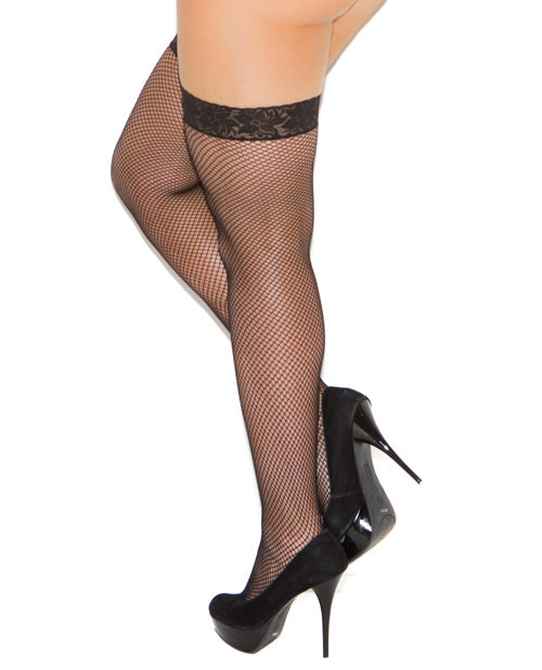 Fishnet Stocking W-lace Top Black Qn
