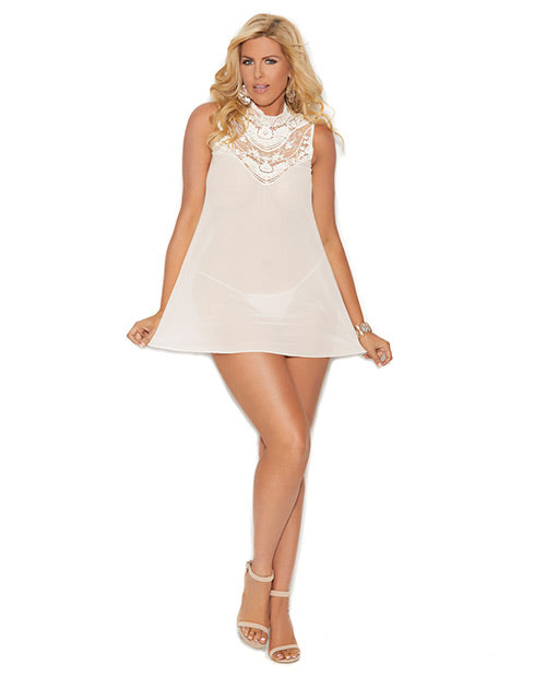 Mesh Babydoll W/button Neck Closure & Mesh G-string Ivory