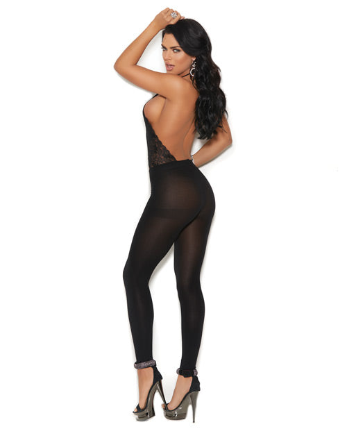Lace & Opaque Halter Neck Bodystocking W-criss Cross Detail Black O-s