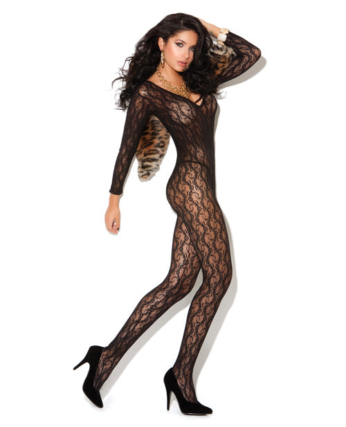 Long Sleeve Lace Bodystocking Black O-s