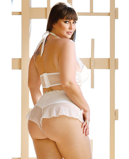Premiere Embroidered Halter & Panty White 3x