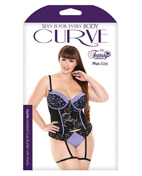 Curve Lisette Lace Bustier W/attached Leg Garters & Panty Periwinkle