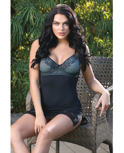 Spring Blue La La Lace Chemise W/slit & G-string Black/blue