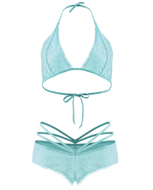 Spring Forget Me Not Bralette & Caged Shortie Aqua