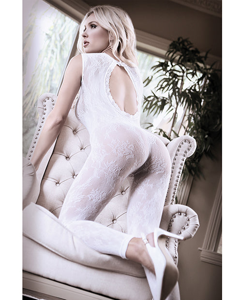 Sheer Fantasy Lace Edge Floral Bodystocking W/keyhole Back Detail White Qn