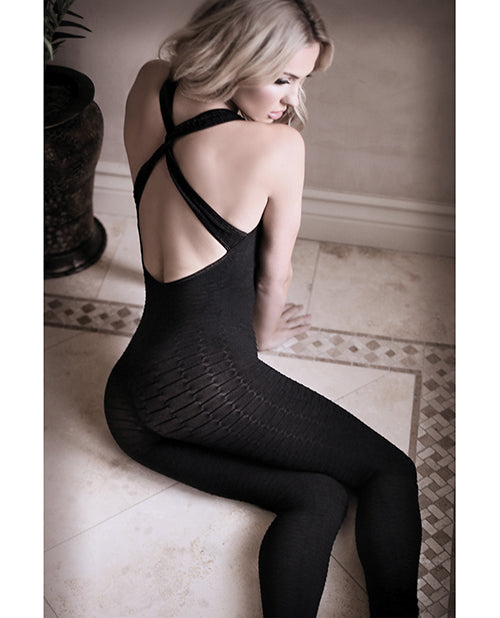 Sheer Fantasy Opaque Bodystocking W/criss Cross Back Detail Black Qn