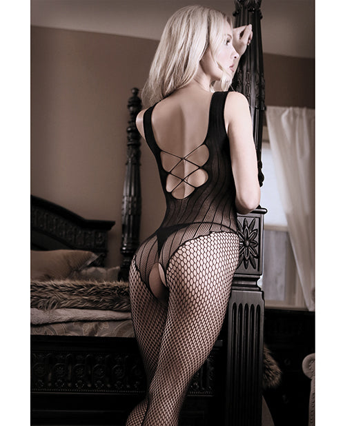 Sheer Fantasy Fishnet Bodystocking W/criss Cross Back Detail Black O/s