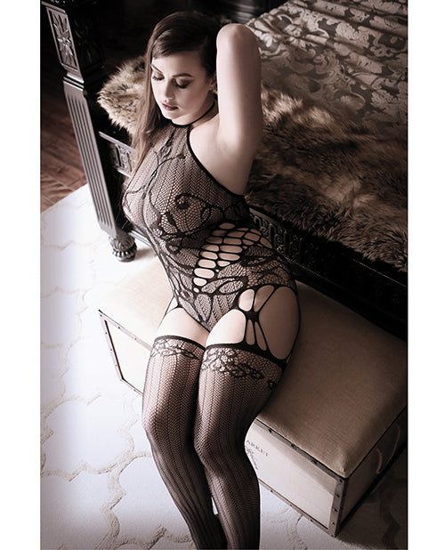 Sheer Fantasy Goodnight Kiss Caged Halter Teddy W/attached Stockings Black O/s
