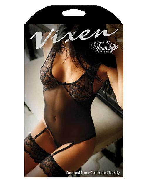 Vixen Darkest Hour Sheer Mesh Teddy W-faux Stocking Garters Black Qn
