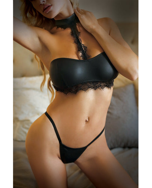 Vixen Sleek Bralette W/lace Choker Leash & Panty Black