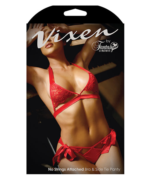 Vixen Cutout Lace Bra & Side Tie Panty Red