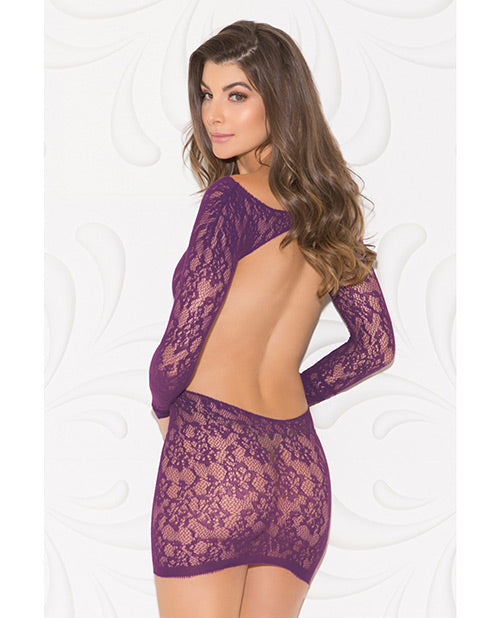 Tapered Floral Open Back Chemise Purple O-s