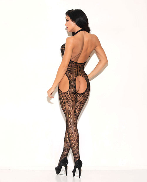 Haltered Patterned Open Crotch Bodystocking Black O-s