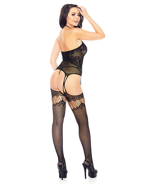 Halter Fishnet Bodystocking Black O-s