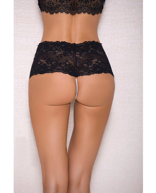 Lace & Pearl Boyshort W/satin Bow Accents Black L/x