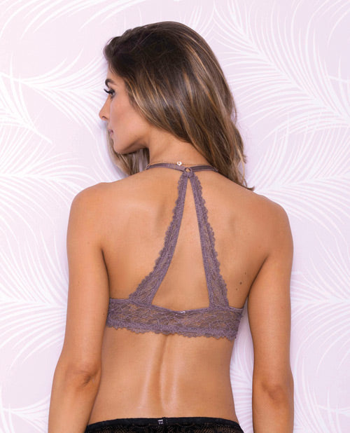 Lace Bralette W/mesh Lining Crossback & Adjustable Shoulder Straps Mauve