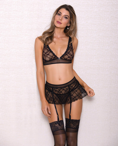 Pleated Lace Bra W/adjustable Shoulder Straps, Garter Skirt & G-string Black
