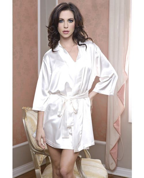 Satin 3/4 Sleeve Robe W/matching Sash Black L/xl