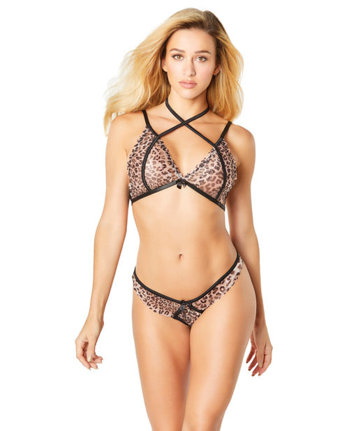 Lace Soft Set W-crossing Straps & Open Back Panty Leopard O-s