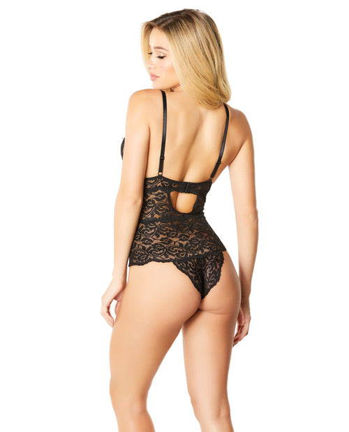 Soft Edged Galloon Lace Teddy W/adjustable Straps & Snaps Crotch Black Xl