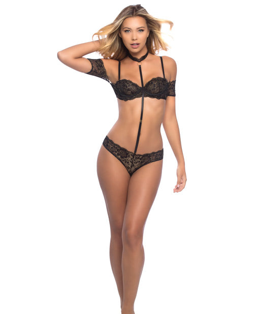 Kamille Off The Shoulder Metallic Lace Bra, Panty & Removable Choker Black/gold