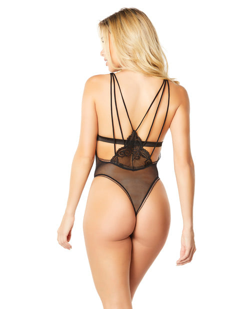 Teddy W/geometric Lace Triangle Bra & Thong W/strappy Detail Black