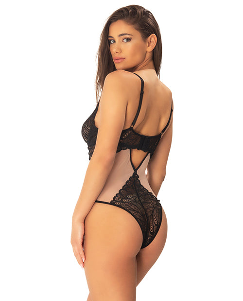 Mai Lace Teddy W/decorative Appliqued Lace Panels Black/sand