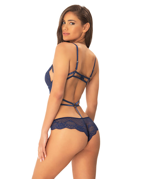 Ariele Geometric Lace Teddy W/strap & Ring Details Estate Blue/black