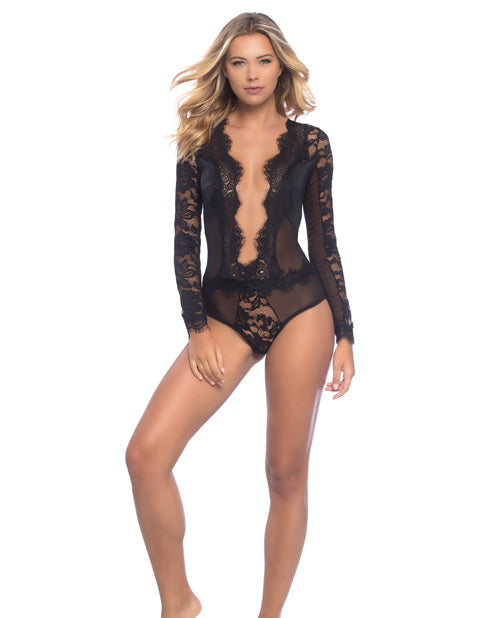 Reneta Eyelash Lace & Microfiber V Plunge Teddy W/snap Crotch