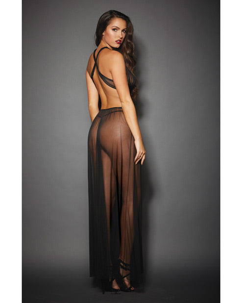 Sheer Mesh Gown W-cut Out Sides & Ties In Back W-g-string Black O-s